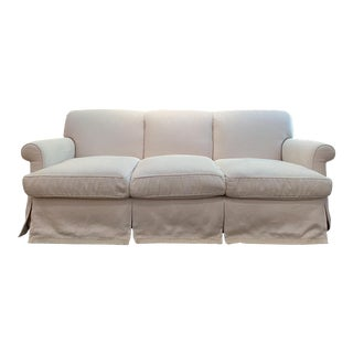 Ebanista Rolled-Arm Sofa in French Linen For Sale
