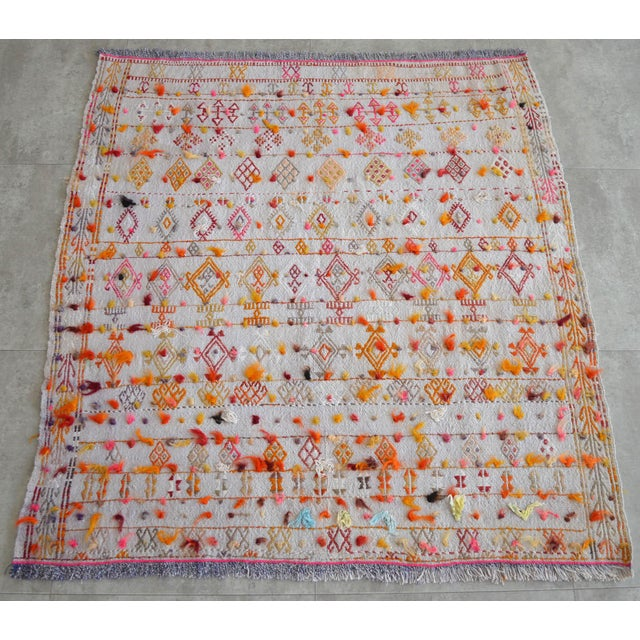 "Antique Anatolian Braided Rug Hand Woven Cotton Small Rug Sofreh - 4' X 4'3"" For Sale - Image 10 of 10"