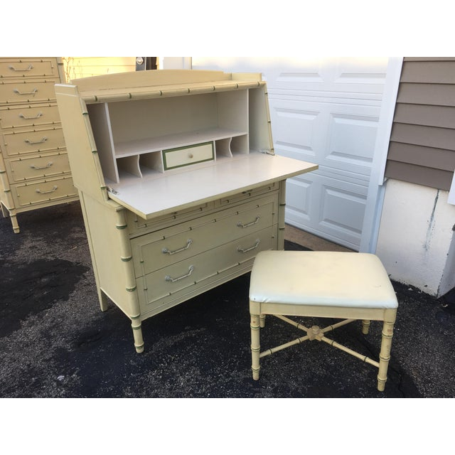 1970's Hollywood Regency Thomasville Faux Bamboo Secretary Desk and Bench - 2 Pieces For Sale - Image 13 of 13