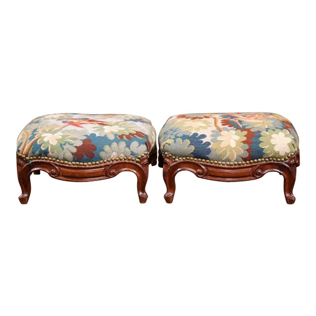Pair of 19th Century, French, Carved Walnut Stools With Old Aubusson Tapestry For Sale