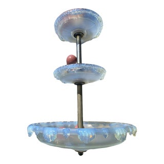 C1920's XL French Art Deco Opalescent Glacier Form Moulded Art Glass Chandelier Attrib. Atelier Petitot For Sale