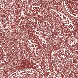 Sample - Schumacher Paisley Print Wallpaper in Red For Sale