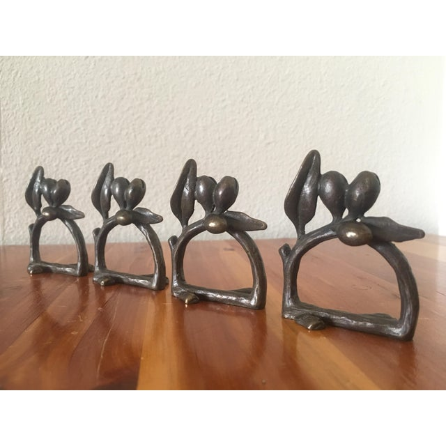 Cast Iron Olive Branch Napkin Rings - Set of 4 - Image 2 of 5