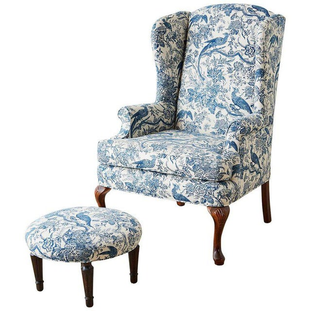 Chinoiserie Upholstered Queen Anne Wingback With Ottoman For Sale - Image 13 of 13