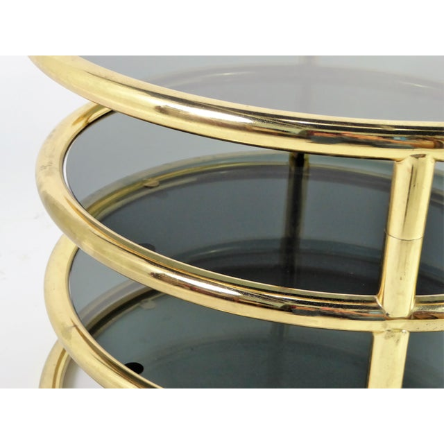 1970s Three Tier Brass With Smoked Glass Coffee Table For Sale - Image 10 of 12