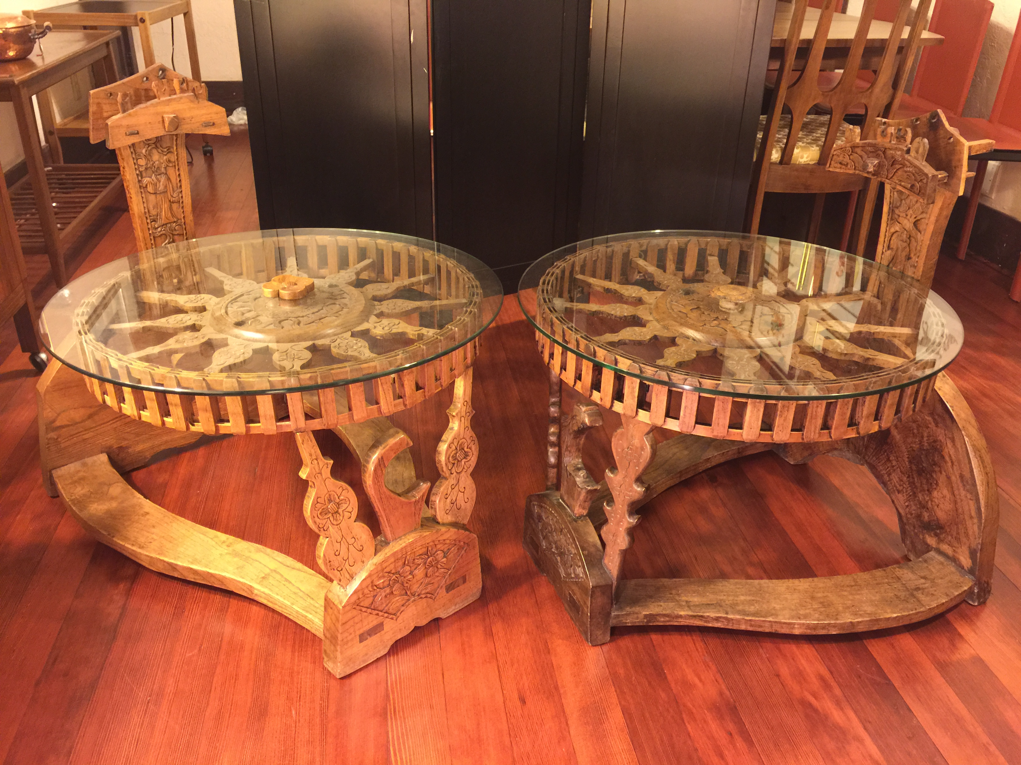 Tibetan End Tables With Repurposed Spinning Wheels   Image 2 Of 10