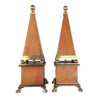 1970s Brass & Tan Leather Obelisks - a Pair For Sale