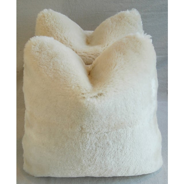 Plush Creamy Ivory Lambswool Pillows - Pair - Image 2 of 8