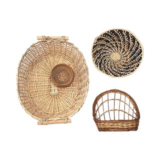 Hand-Woven Basket Wall Accents - Set of 4 For Sale