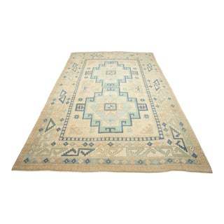 *Naqshi 7x10 Antique Turkish Vintage Soft Color Oushak Style Sophisticated Area Rug For Sale