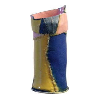 Handmade Yellow Pink and Blue Ceramic Vase by Marsha Plafkin For Sale