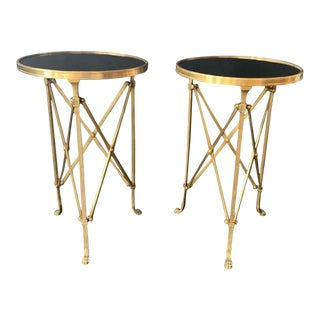 Vintage Marble Top Guéridon Side Tables - a Pair For Sale
