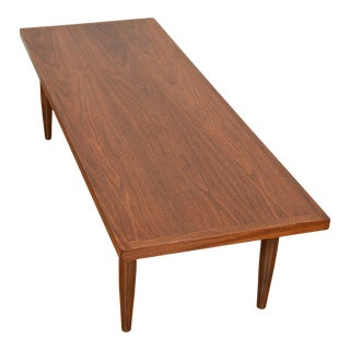 Mid Century Walnut Rectangle Coffee Table For Sale