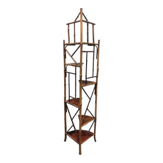 Chinese Chippendale Bamboo Chinoiserie Corner Etagere For Sale