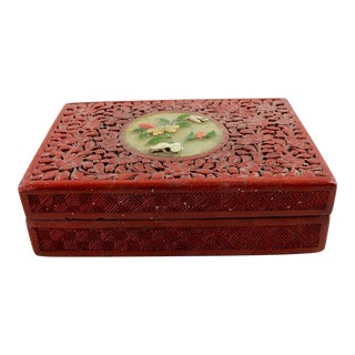 Vintage Cinnabar Lacquer & Carved Stone Box For Sale