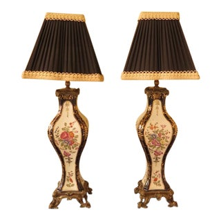 Castilian Porcelain French Louis XV Table Lamps - a Pair For Sale