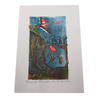 Vintage Lithograph Titled: Flamingos and Signed by Artist: Ann Zahn For Sale