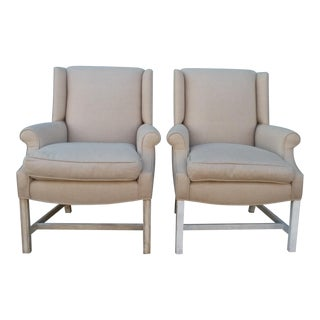 Vintage Upholstered Linen Arm Chairs - a Pair For Sale