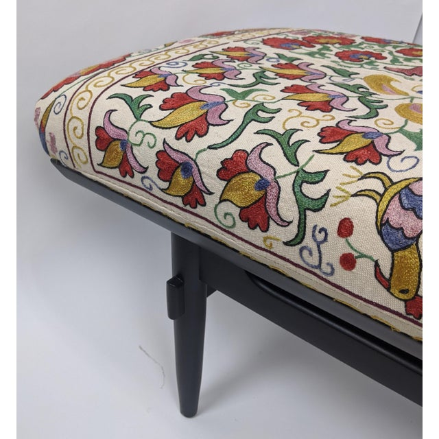 Wood Antique Suzani Upholstered Bench For Sale - Image 7 of 9
