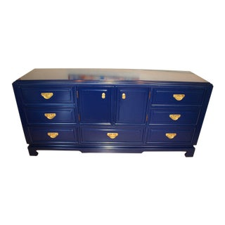 Hollywood Regency Chinoiserie Lacquered Navy Blue Dresser or Credenza