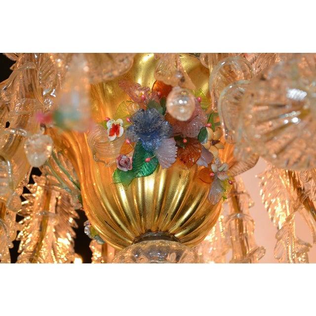 1910s Antique Venetian Multi-Color Blown Glass Chandelier For Sale - Image 5 of 11