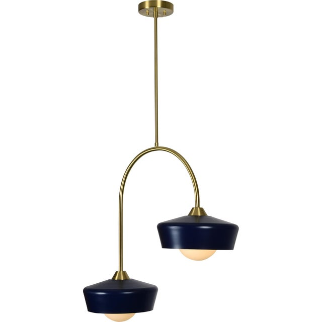 Navy blue and gold are the sophisticated colour combo in this retro inspired ceiling lamp. The curved golden coated iron...