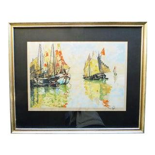 Hans Figura Large Boats Aquatint Print For Sale