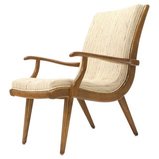 Paul Laszlo Cerused Oak Lounge Chair New Raw Wool Upholstery For Sale