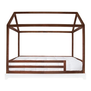 Nico & Yeye Domo Full Canopy Bed with Rails Made of Solid Walnut For Sale