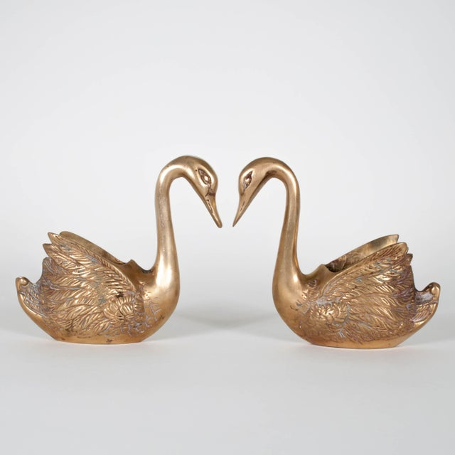 Vintage Brass Swan Planters - Set of Three For Sale In New York - Image 6 of 12