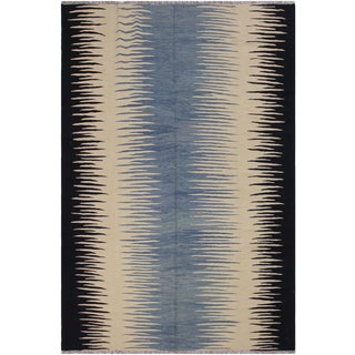 "Boho Chic Kilim Alysa Hand-Woven Wool Rug -8'1"" X 9'9"" For Sale"