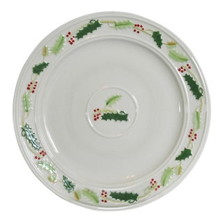Vintage Belleek Holly Christmas Dinner Plate (S) Hand Painted - 12 Available For Sale