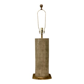 Modern Tall Taupe Porcelain Shagreen Table Lamp For Sale