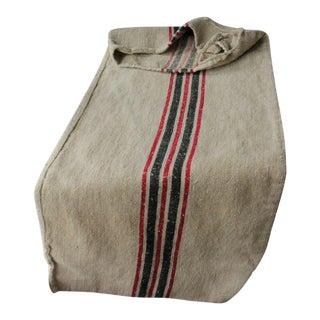 Antique Homespun Black + Red Stripe Hemp Linen Grain Bag For Sale