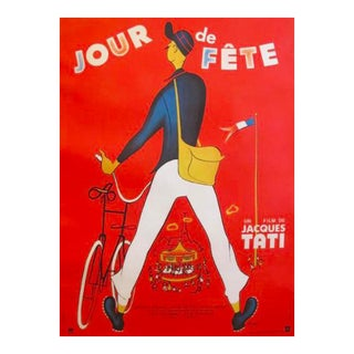 Original 1949 French Jacques Tati Movie Poster, Jour De Fete