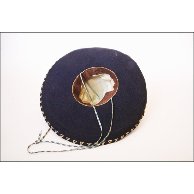 Early Mexican Navy Blue Embroidered Sombrero - Image 3 of 11