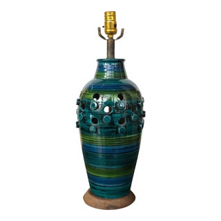 1960s Green and Blue Bitossi for Raymor Table Lamp For Sale