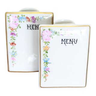 Porcelain Menu Stands - a Pair For Sale