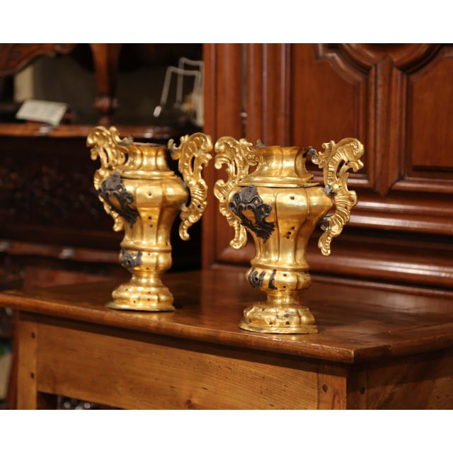 Place these antique church bases on a mantel, inside a bookcase or hang them on a wall; shaped as half-vase and crafted in...