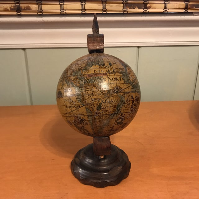 1970s Mini Desktop Globe on Wood Axis For Sale - Image 5 of 13