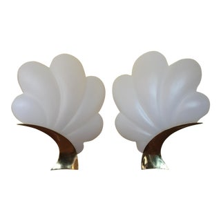 Frosted Acrylic & Polished Brass Rougier Shell Table Lamps - A Pair