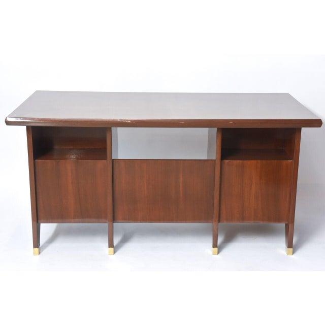 Gold Italian Modern Walnut and Brass Executive Desk, Gio Ponti For Sale - Image 8 of 9