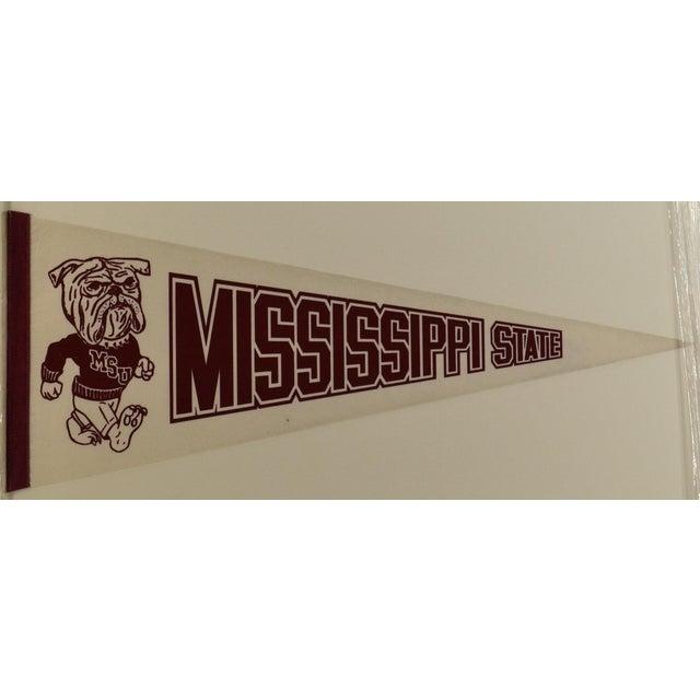 Vintage Mississippi State University felt pennant. Custom made black wood frame with UV acrylic.