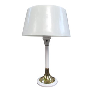 1960s Heyco Mod White & Brass Table Lamp With Plastic Shade For Sale