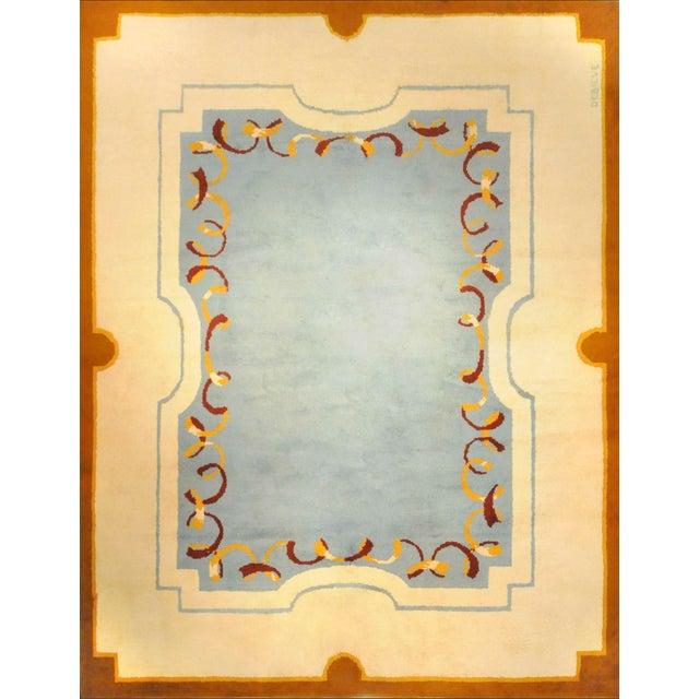Art Deco Style Wool Rug Designed by Robert Debieve, Circa 1950 For Sale