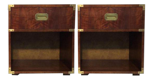 Vintage Henredon Campaign Nightstands a Pair