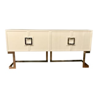 Worlds Away White Braxton Media Console With Chrome or Gold Leaf Accents