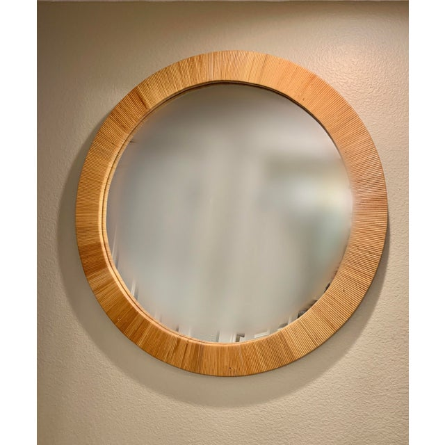 Wood Bielecky Brothers Round Rattan Mirror For Sale - Image 7 of 7