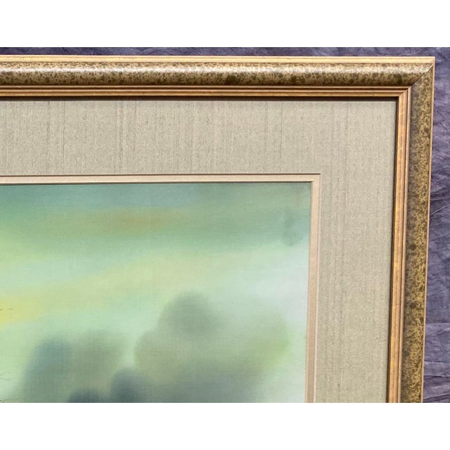 Harbor Scene Signed Painting on Silk For Sale - Image 9 of 12
