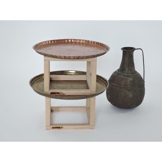 Modern Brass and Copper Tea Accent Table For Sale In New York - Image 6 of 8